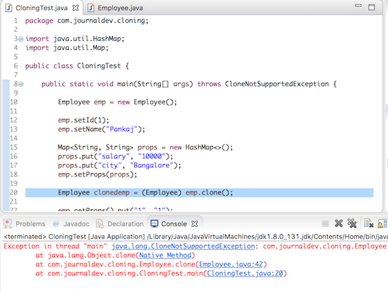 Java CloneNotSupportedException