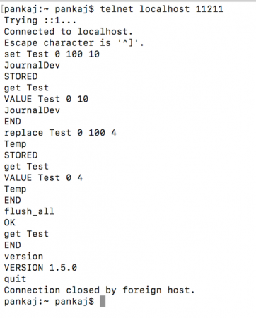 memcached telnet commands example, memcached set, get, flush_all, stats example