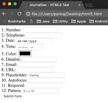 html5 features, html5 input, html5 required, html5 pattern, html5 datalist