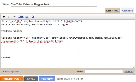 embed YouTube video on Blogger