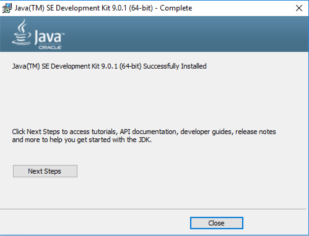 java windows install success screen