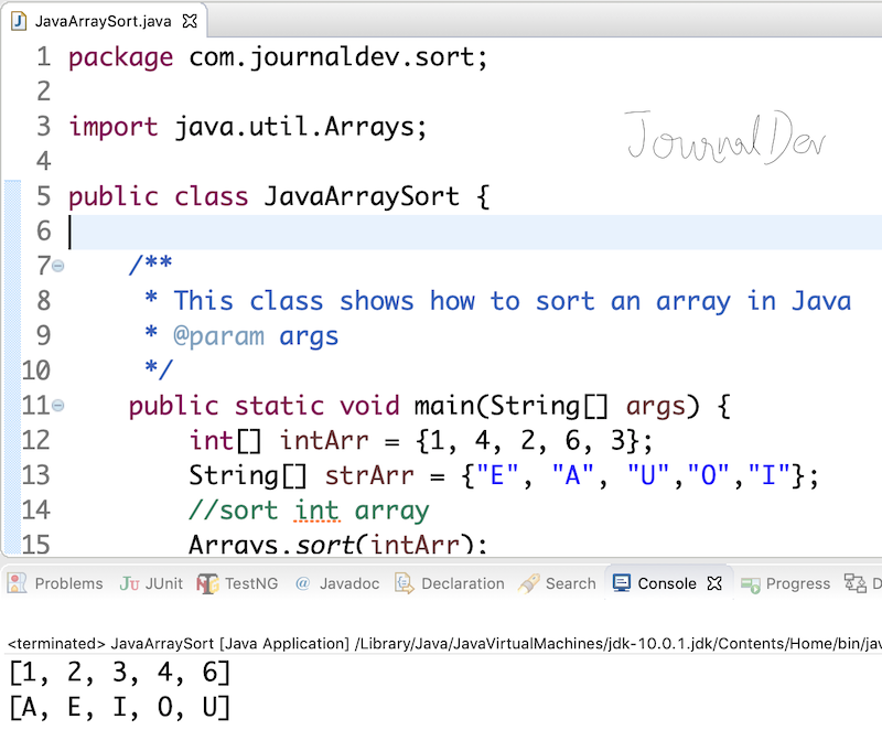 Array Sorting In Java