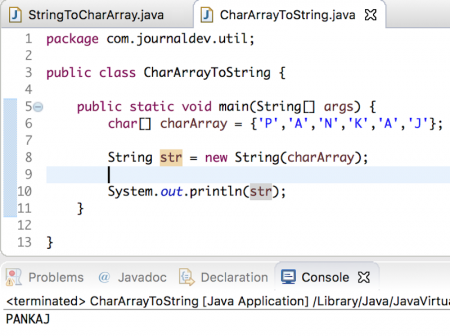 char array to string in java