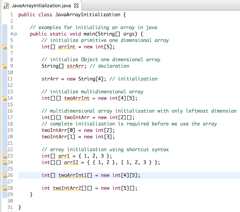 how to initialize an array in java, java array initialization