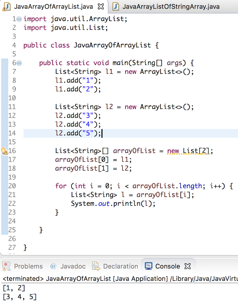 java array of arraylist, array of lists in java