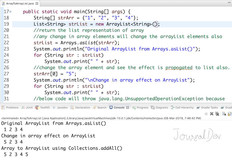Java Array to List (ArrayList) Conversion - JournalDev