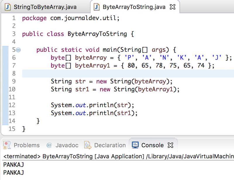 String to byte array, byte array to String in Java - JournalDev