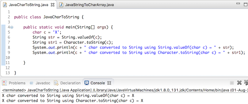 java char to string, convert char to string in java