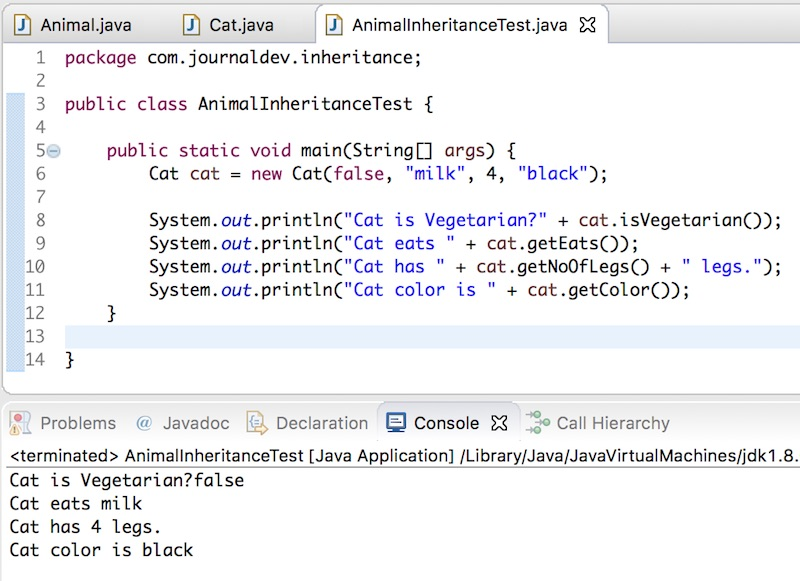 Inheritance In Java Example Journaldev