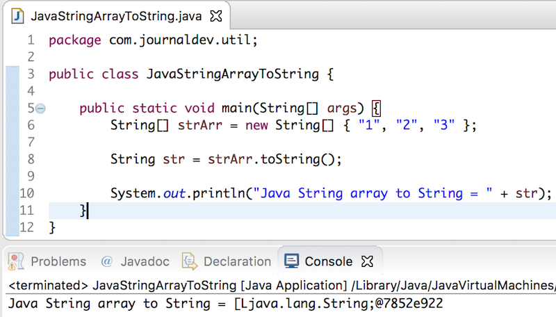 java string array to string toString method call output