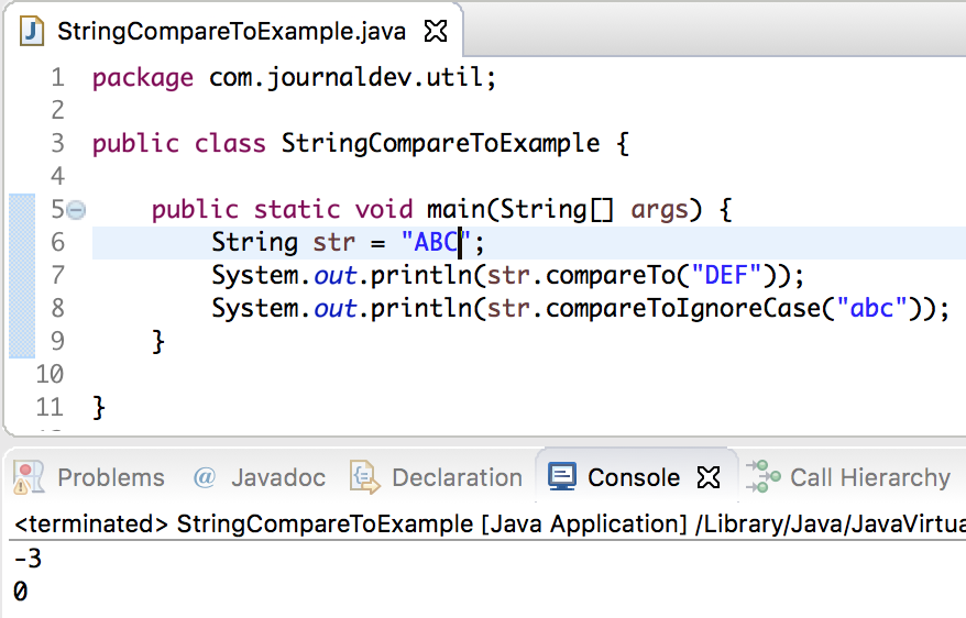 java string compareTo, string compareTo java example