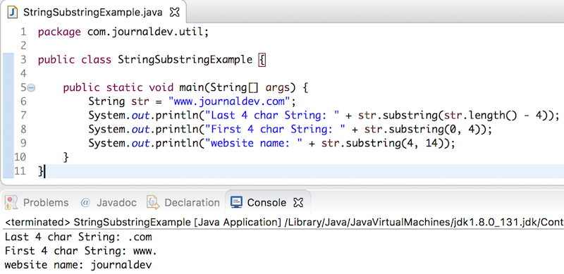 java string substring, substring in java