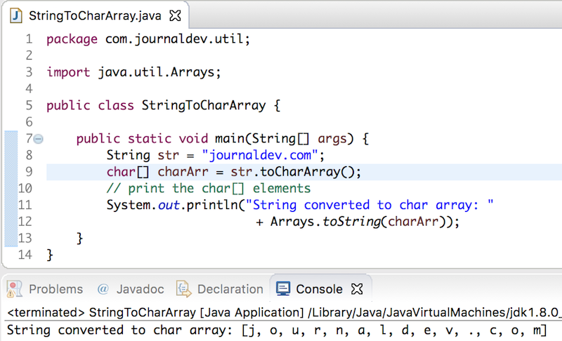 string to char array in java