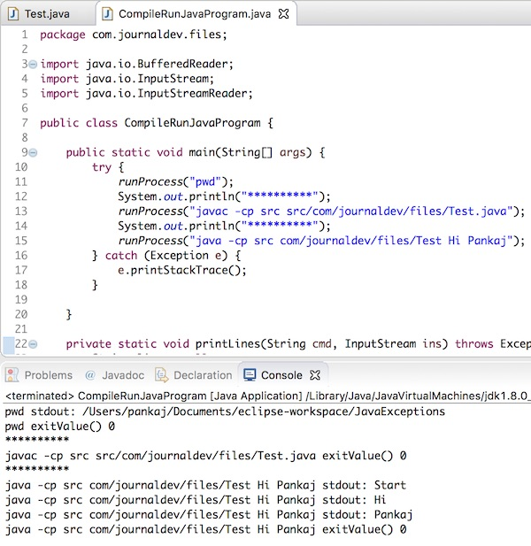 compile and run java program from another java program in eclipse