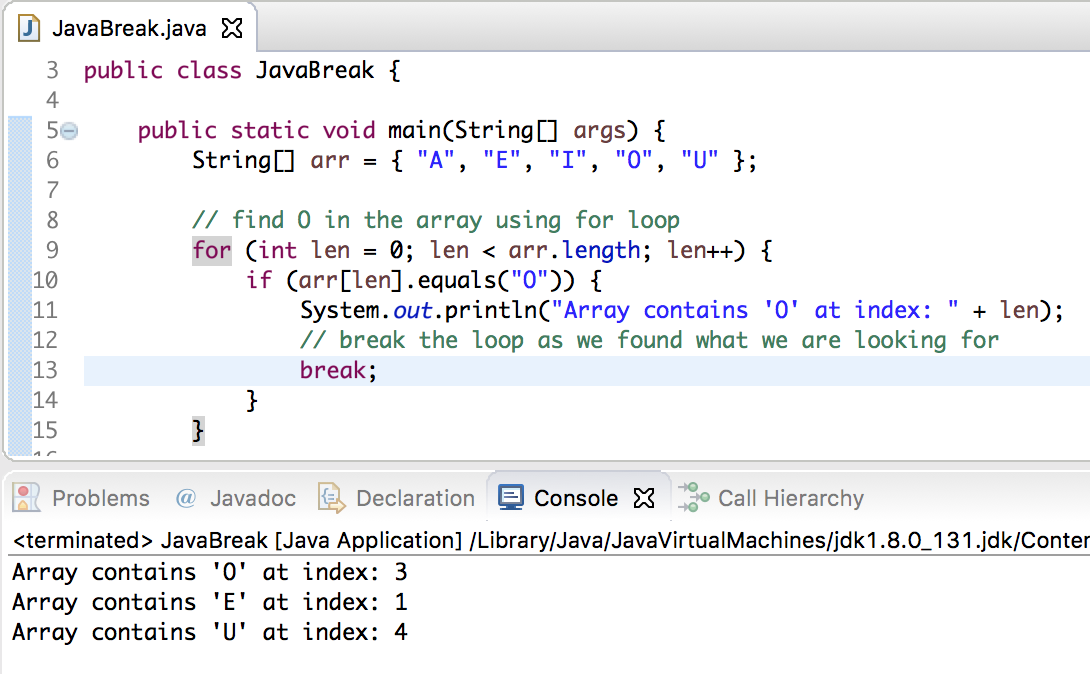 java break statement, break in java