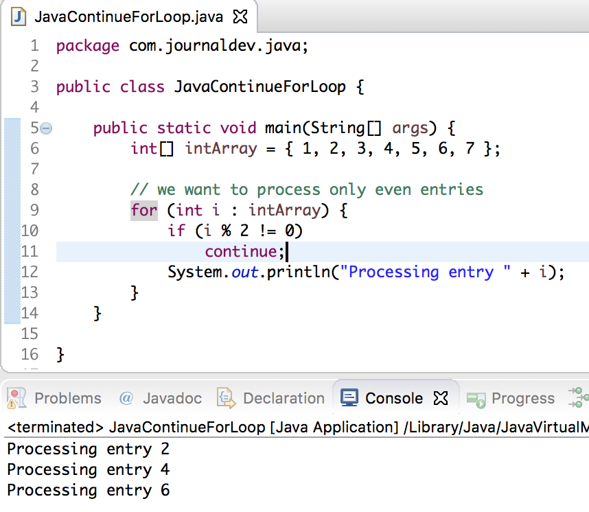 Java continue statement - JournalDev