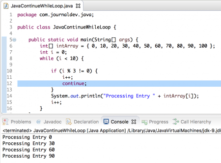 java while loop continue