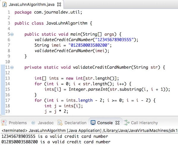 java luhn algorithm, java credit card validation