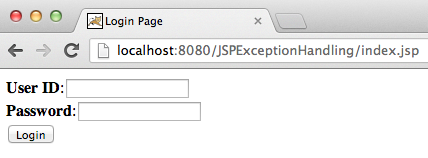 JSP exception handling example Login Page
