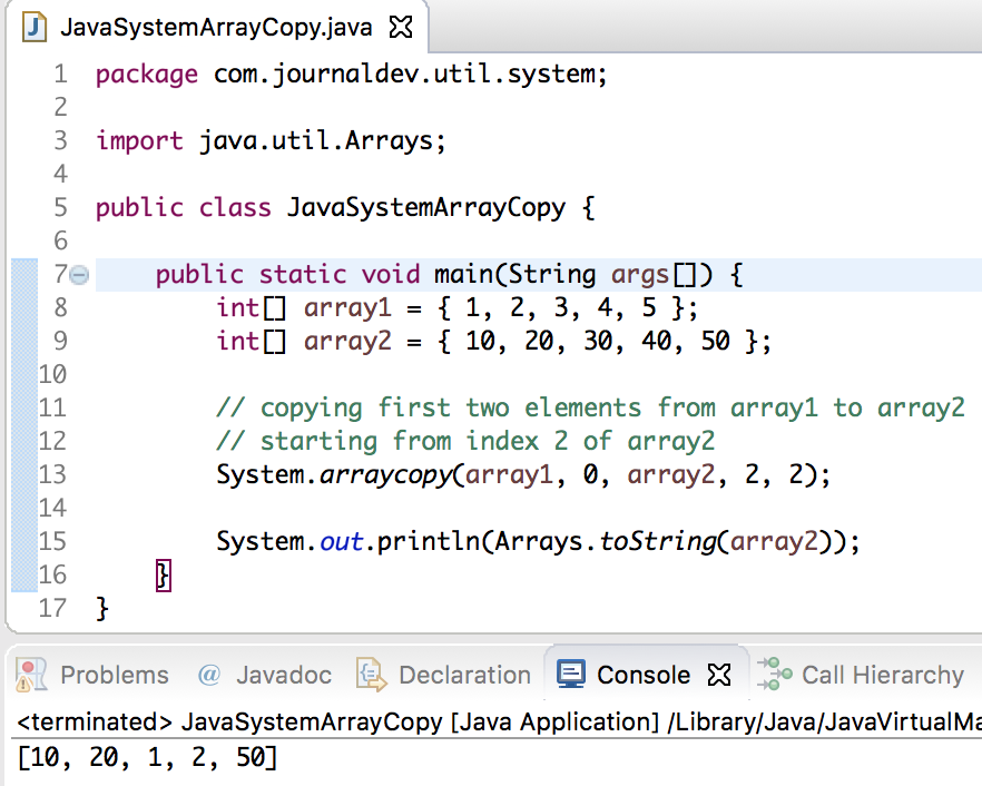 System class in java, java system array copy