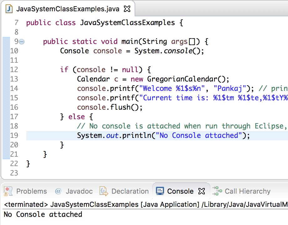 java system console printf eclipse