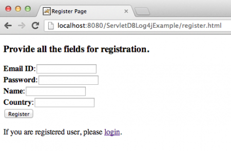 servlet jdbc, servlet log4j, registration form servlet
