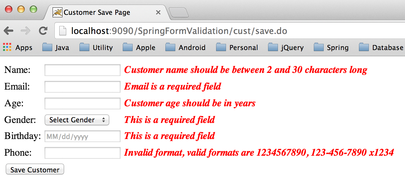 Spring validation example spring mvc form validator journaldev.