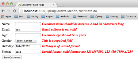 Spring Validation Example