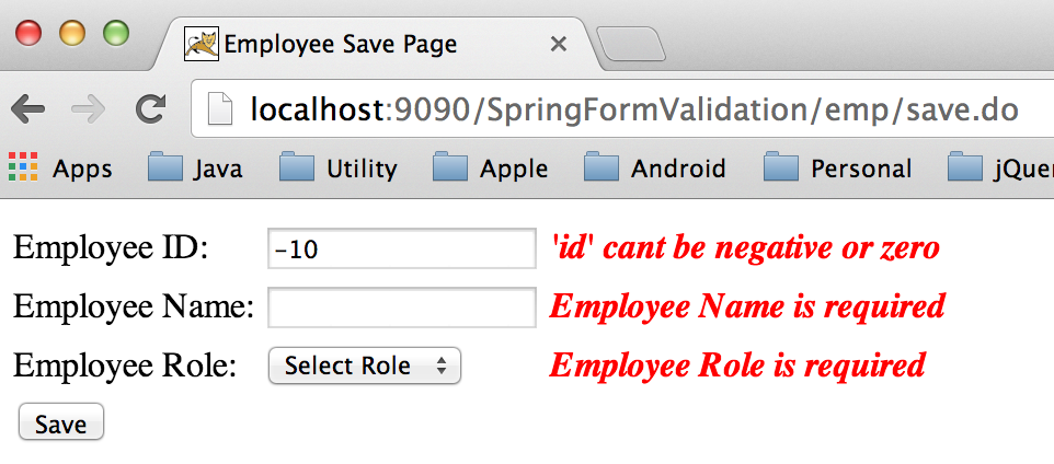 Form data binding and validation example with java, spring boot.
