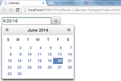 Primefaces Calendar - Default View - ShowOn Button Clicking