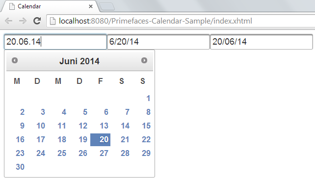 Primefaces Calendar Component Example Tutorial - JournalDev