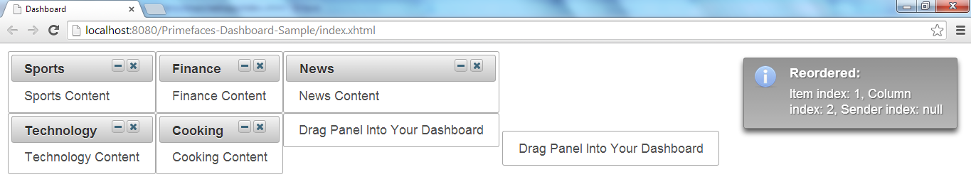 Primefaces Dashboard - After Dragging External Panel Into Dashboard
