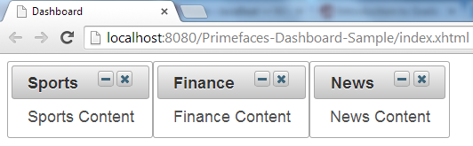 Primefaces Dashboard - Three Columns - Three Widgets
