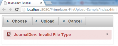 FileUpload - Advanced File Upload Sample - Invalid File Type - Custom Message