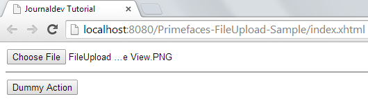 Primefaces FileUpload - Simple File Upload Sample - File Selected View