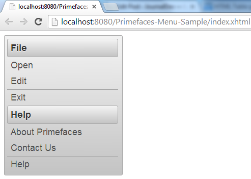 Primefaces Menu - Simple Menu Example