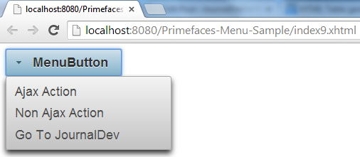 Primefaces MenuButton - Simple Example