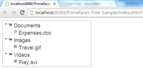 Primefaces Tree, Primefaces TreeNode Types