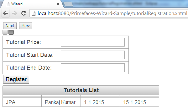 Primefaces Wizard - Client Side API - Registration