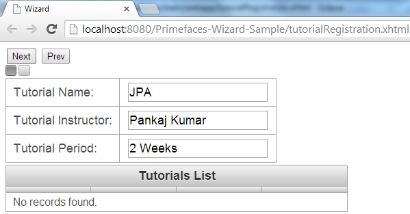 Primefaces Wizard - Client Side API - Step A