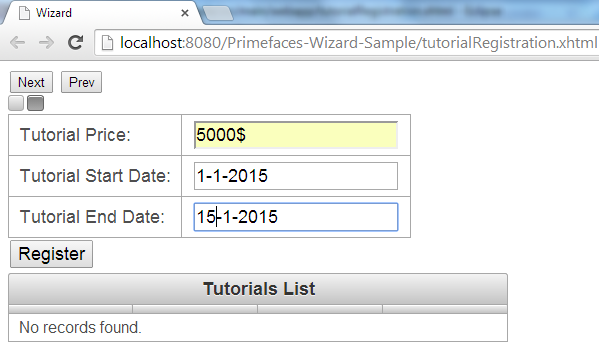 Primefaces Wizard - Client Side API - Step B