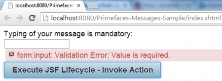 Message - Validation Error - Message Displayed