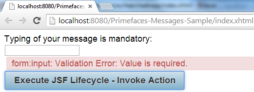 Primefaces Message - Validation Error - Text Display Mode