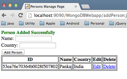 MongoDB Web Application Create