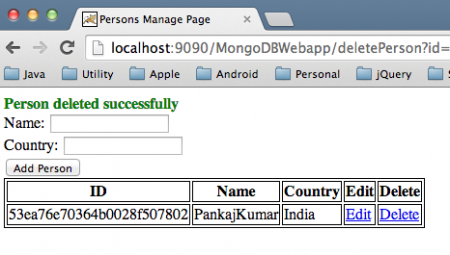 MongoDB Web Application Delete