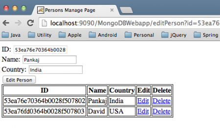 MongoDB Tomcat Web Application