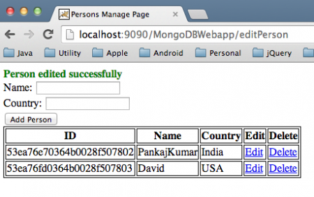 MongoDB Tomcat Web Application Update
