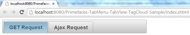 Primefaces TabMenu - Simple Example - Initial View