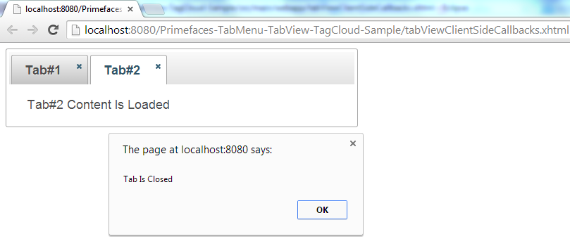 Primefaces TabView - Client Side Callbacks - OnClose