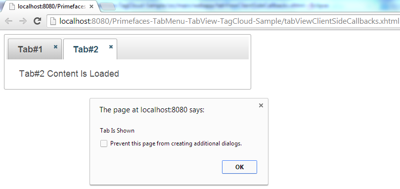 Primefaces TabView - Client Side Callbacks - OnShow